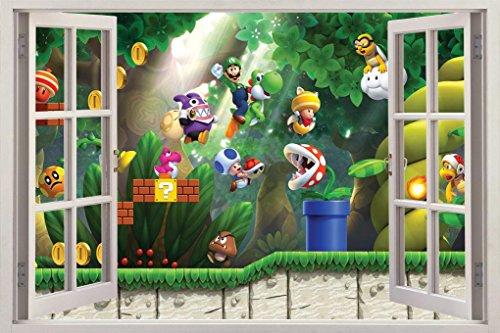 Super Mario Bros Scene 3D Window View Decal WALL STICKER ...