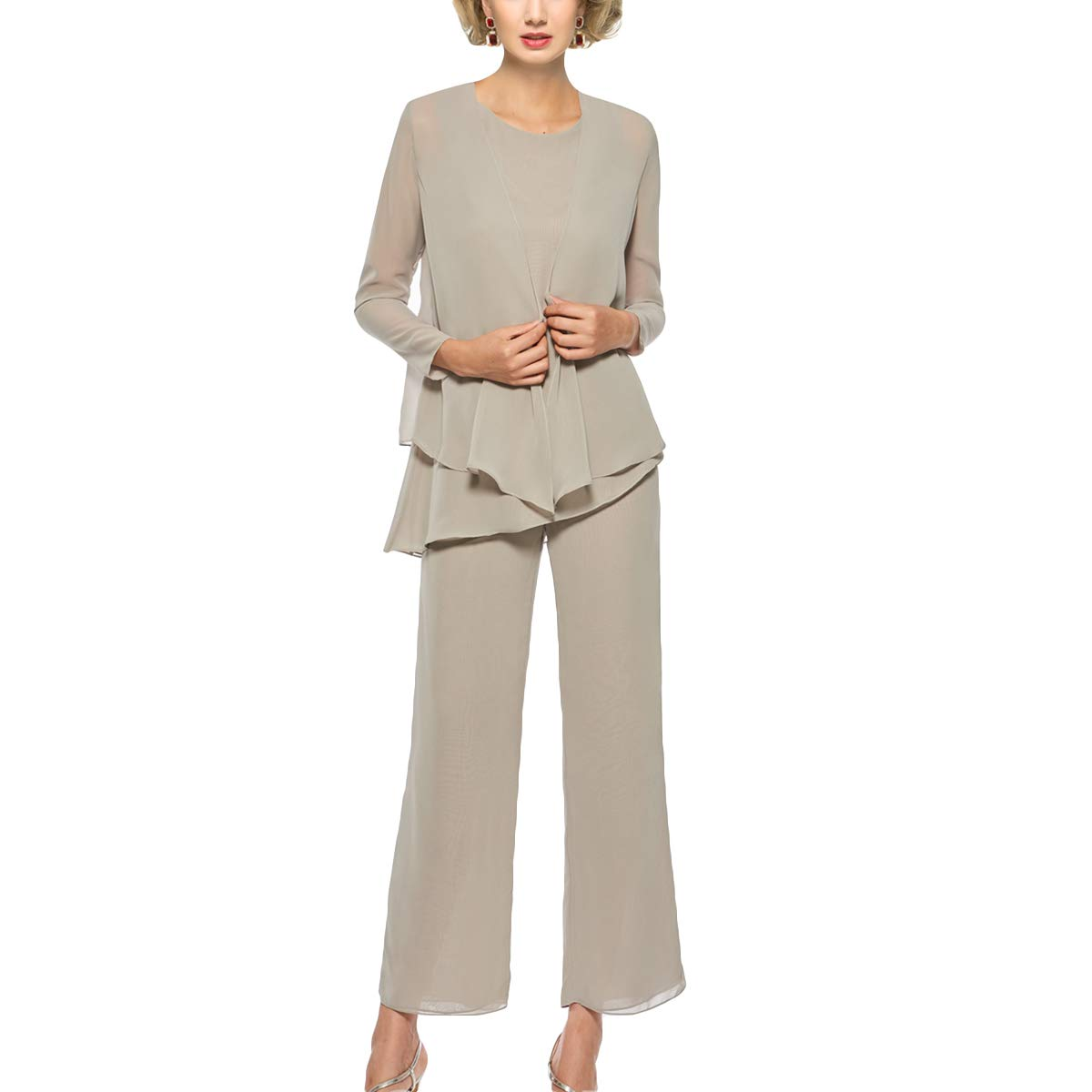 Taupe 24W Mother of The Bride Pant Suits 3 Piece Outfits Formal Womens Evening Long Sleeve Chiffon Dressy Pantsuits for Weddings