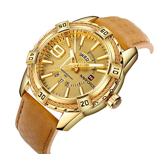 NAVIFORCE Luxury Men Sports Watches Waterproof Quartz Leather Watch Gold Big Face Date Clock ()