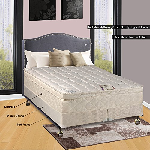 Box Split Set Spring - Continental Sleep Fully Assembled Orthopedic Pillow Top Mattress and 8