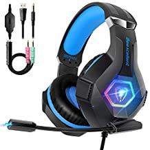 PS4 Gaming Headset with Mic, Beexcellent Ultra Light Gaming Headphones with Stereo Bass Surround Noise Canceling Microphone On-line Control Compatible Xbox One PC Laptop Mac (Upgraded RGB Lights)