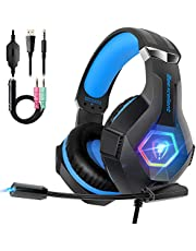 Gaming Headset for PS4, Ultra Light Xbox One Headset with Noise Canceling Mic and Upgraded RGB Light, PC Headset with Stereo Bass Surround, Over-Ear Headphones for PC, PS4, Xbox One, Laptop