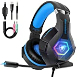 Beexcellent Gaming Headset PS4 Headset, Ultra Light Xbox One Headset with Noise Canceling Mic and Upgraded RGB Light, PC Headset with Stereo Bass Surround, Over-Ear Headphones for PC, PS4, Xbox One, Laptop