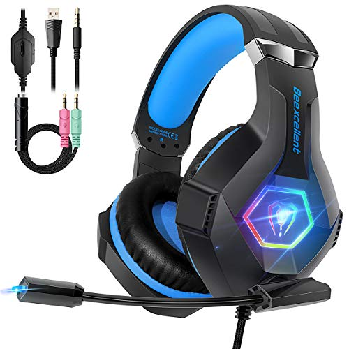 PS4 Gaming Headset with Mic, Beexcellent Ultra Light Gaming Headphones with  Stereo Bass Surround Noise Canceling Microphone On-line Control Compatible