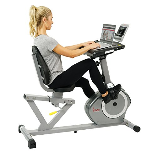 Sunny Health & Fitness Magnetic Recumbent Desk Exercise Bike, 350lb High Weight Capacity, Monitor SF RBD4703