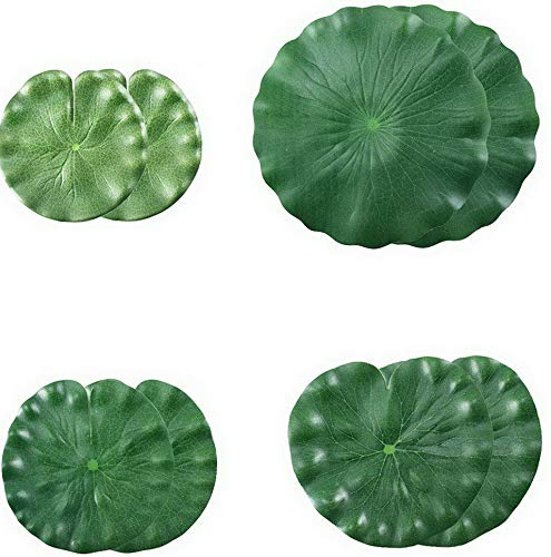 Werrox Artificial Lilies Pad Realistic Non-Toxic Floating Water Mat for Home Garden Patio Koi Pond Aquarium Swimming Pool Bird Baths Decor Pack of 8 (15cm+18cm+22cm+30cm) | Model WDDNG -3465