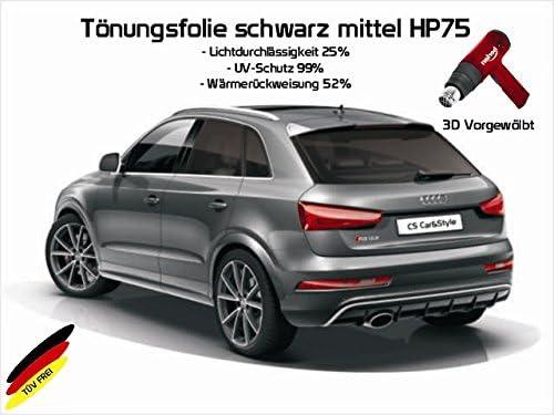 Passgenaue T/önungsfolien HP75 mittelschwarz 3D Heckscheibenfolie vorgew/ölbt kompatibel mit VW Passat B8 Variant Kombi ab Bj 11//14