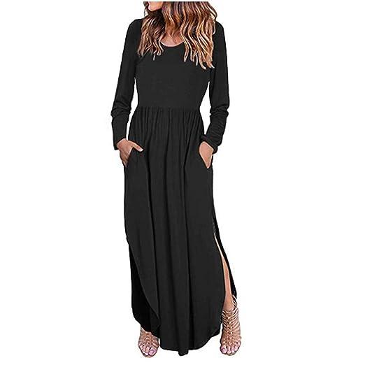 4dea114e34 Waist Swing Long Dress Women's Casual Loose Pocket Short Sleeve Split Maxi  Dresses Black