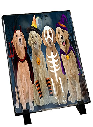 Pictures Of Kittens In Costumes (Happy Halloween Trick or Treat Golden Retrievers Dog in Costumes Photo Slate)