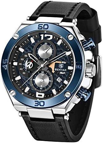 BENYARStijlvol polshorloge voor heren horloges met echt leren bandje perfect quartz uurwerk waterdicht en krasbestendig analoge chronograaf zakelijke horloges beste herencadeau