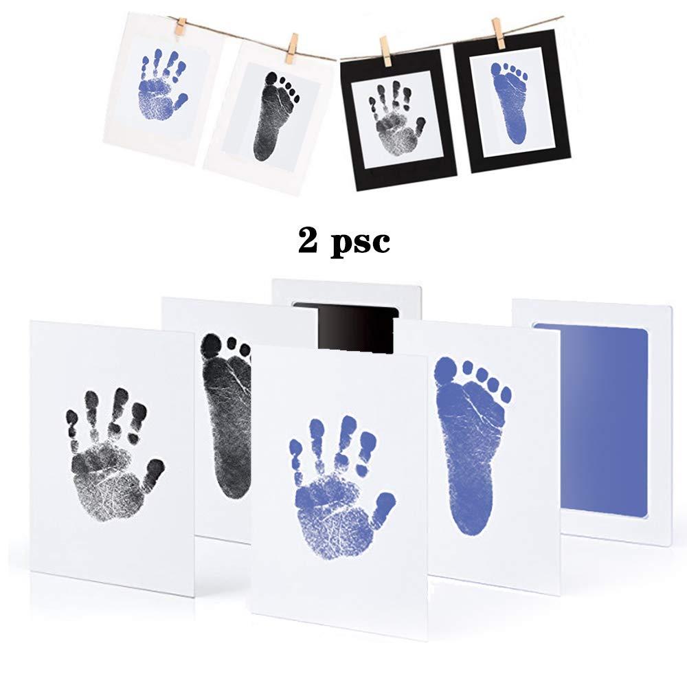 mit Papier-Bilderrahmen Set Baby Fu/ß- oder Hand-Abdruck Set Druckkarten Stempelkissen Taufe Geschenk f/ür Neugeborene Ungiftig Inkless Babyhaut kommt nicht mit Farbe in Ber/ührung