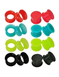 Gauges Area 8 Pairs Silicone Flexible Ear Flesh Tunnels Plugs Gauges Kit Piercing Jewelry