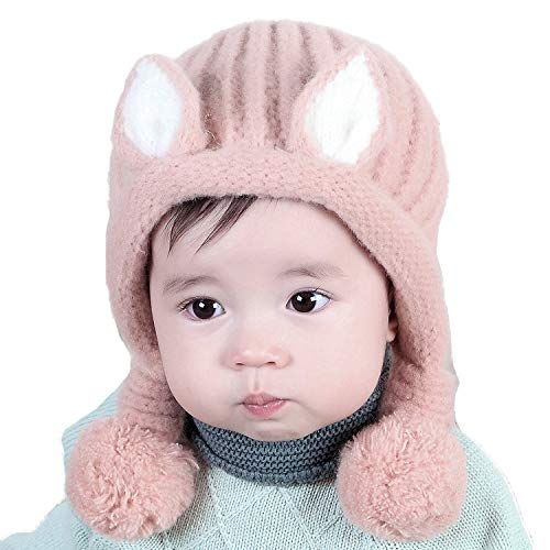 (Bienvenu Baby Animal Cat Hat Cold Weather Thick Stretchy Hood Caps with Lined Pom, 6-36 Months, Pink)