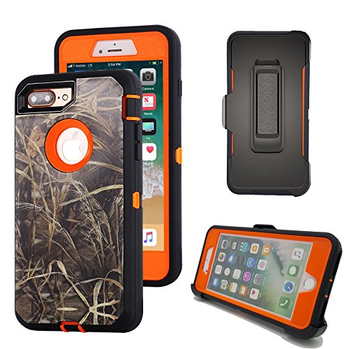 iPhone 8 Plus Camo Case, Harsel Heavy Duty Camouflage High Impact Rugged Hybrid Armor Military Defedner Case with Swivel Belt Clip Built-in Screen Protector for iPhone 7/8 Plus - Straw Orange ()