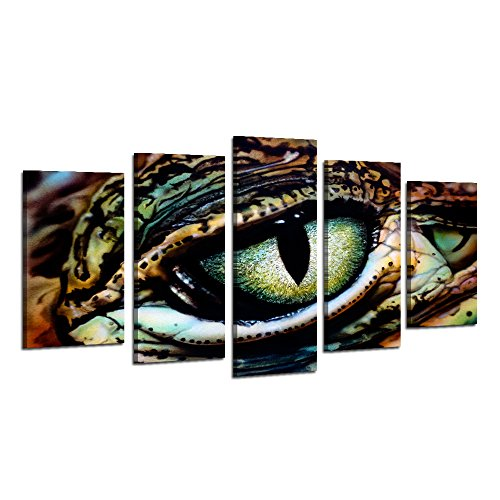 Visual Art Decor Animals Canvas Wall Art Panther Chameleon with Beautiful Eye Staring Painting Picture Framed and Stretched Canvas Prints Home Wall Mural Decoration (Medium) (Mural Tiger Plastic)