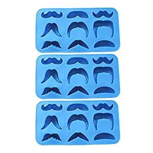 Riverbyland Silicone Moustache Shape Ice Cube Trays Assorted Colors Set of 3