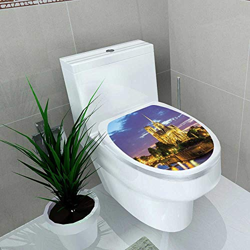 Auraise-home Toilet Seat Wall Stickers Paper Notre Dame Cathedral at Dusk in Paris France Decals DIY Decoration W14 x L16