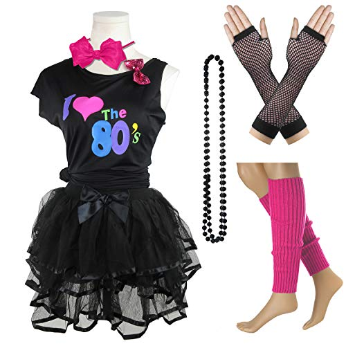 I Love The 80's T-Shirt 1980s Girl Costume Outfit Accessories (Black, 10-12 Years) ()
