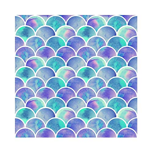 (Laeacco 10x10ft Mermaid Party Vinyl Photography Background Swanky Gradient Color Mermaid Scales Backdrop Birthday Party Banner Girls Portrait Shoot Wallpaper Studio Props )