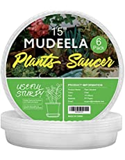 MUDEELA 6 Pack Plant Saucer, Durable Plastic Plant Trays for Indoors, Clear Plastic Flower Plant Pot Saucer, Made of Thicker, Stronger Plastic, with Taller Design