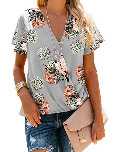 - Women's V Neck Short Sleeve Blouse Tops Drape Wrap Front Casual Chiffon Shirts (Large, 3-Grey)