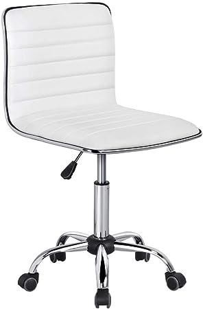 Yaheetech Chaise de Bureau sans Accoudoir à Dossier Bas Fauteuil de Travail à roulettes Assise Réglable Chaise d'Ordinateur 120 kg Blanche Chaise pour