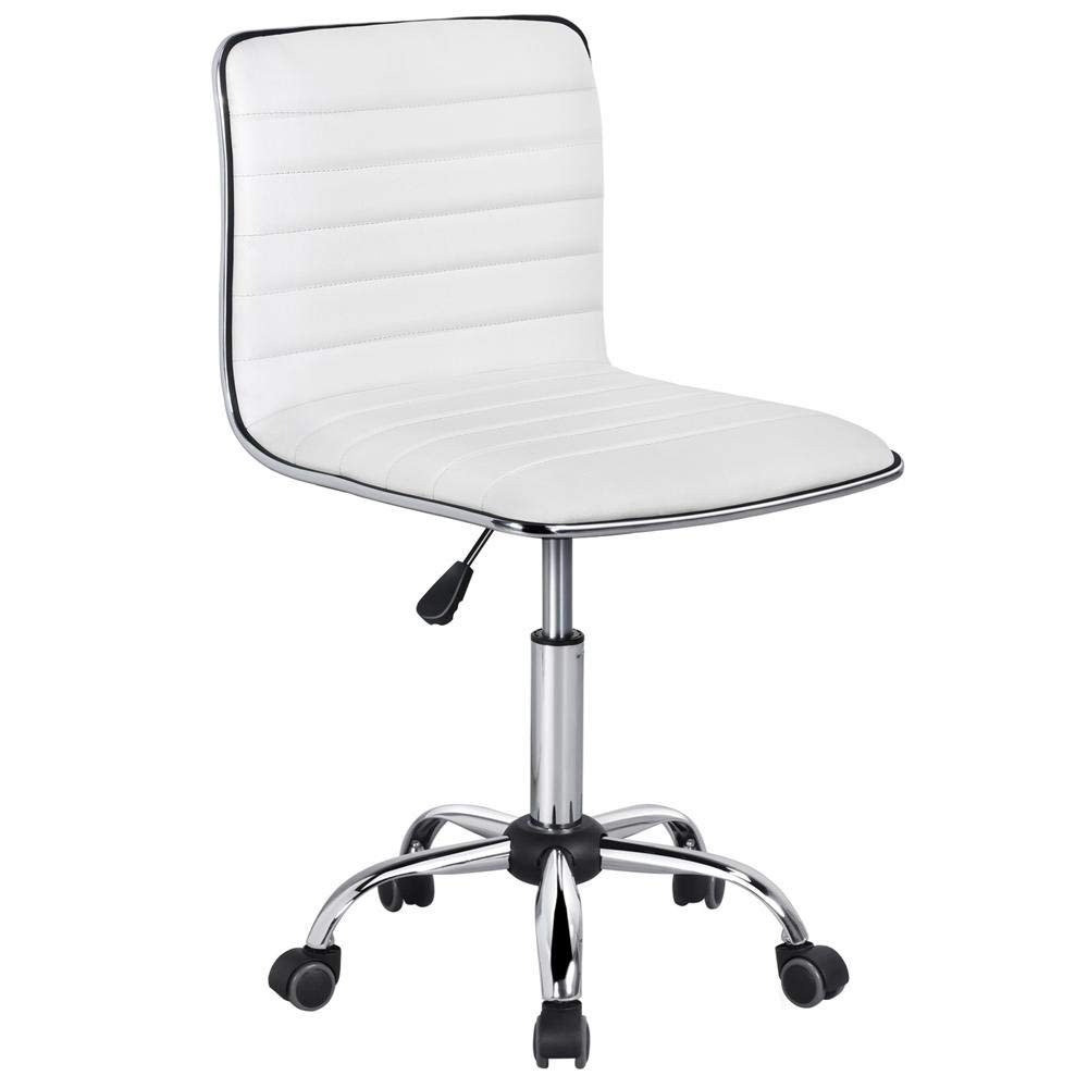 Yaheetech Adjustable Task Chair PU Leather Low Back Ribbed Armless Swivel Desk Chair Office Chair Wheels (White) by Yaheetech