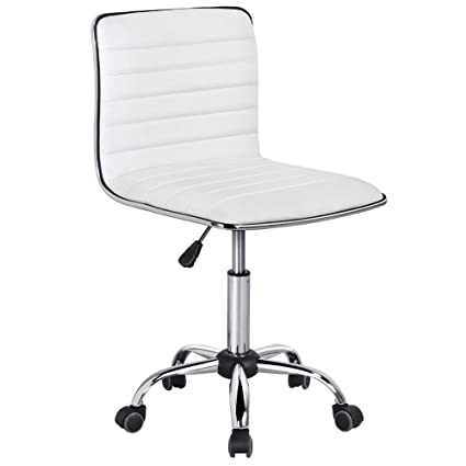 buy popular ce7ea fcb29 Yaheetech Adjustable Task Chair PU Leather Low Back Ribbed Armless Swivel  White Desk Chair Office Chair Wheels