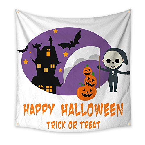 BlountDecor Pattern Tapestry Halloween Background with Lovely Costumes 70W x 70L Inch ()