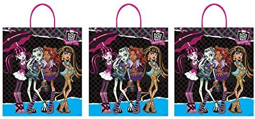 Monster High Plastic Reusable Trick or Treat Bags (3 pack) (Frozen Trick Or Treat Bag)