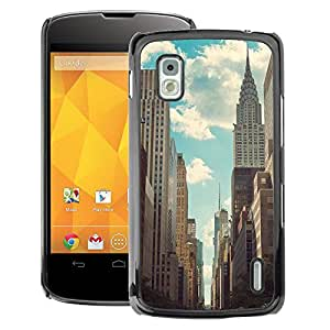 A-type Arte & diseño plástico duro Fundas Cover Cubre Hard Case Cover para LG Nexus 4 E960 (Empire State Nyc New York Building)