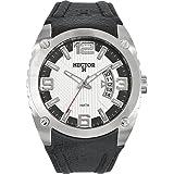 Hector H - 665379 - Montre Homme - Quartz Analogique - Cadran Blanc - Bracelet Cuir Noir