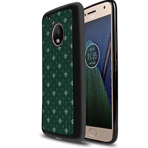 TPU Case Compatible Motorola Moto G6 Plus (2018) (5.93 Version) Fleur De Lis Ancient Baroque Pattern Medieval French Motifs Royal Ornate Classic Hunter Sage Green