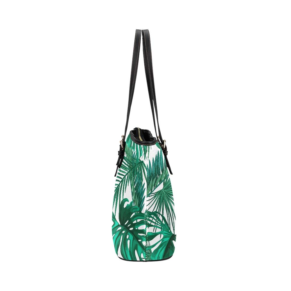 Tropical Tree Summer Palm Leaves Large Soft Leather Portable Top Handle Hand Totes Bags Causal Handbags With Zipper Shoulder Shopping Purse Luggage Organizer For Lady Girls Womens Work