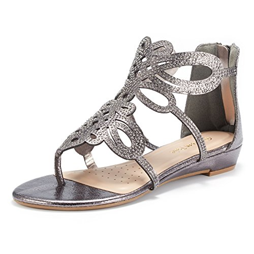 (DREAM PAIRS Women's JEWEL-02 Pewter Rhinestones Design Ankle High Flat Sandals Size 10 M US)