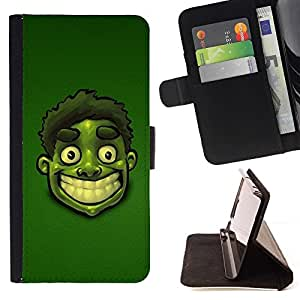 - cool funny cartoon green face smile teeth/ Personalized Design Custom Style PU Leather Case Wallet Flip Stand - Cao - For HUAWEI P8 Lite