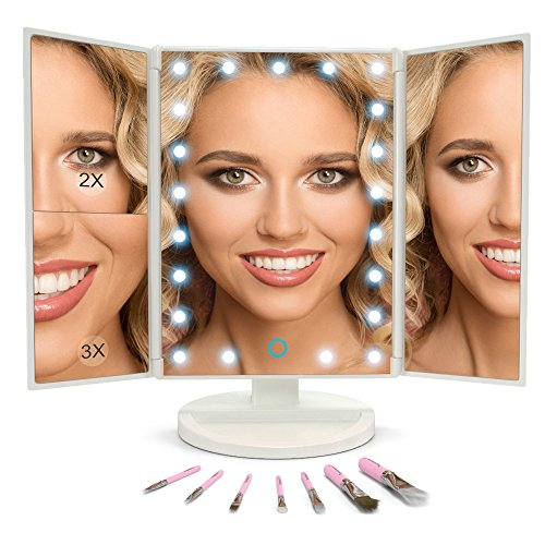 Makeup Vanity Mirror with LED Lights BUNDLE 7 Piece Bonus Brush Set Magnification 1x2x3 Portable Trifold Lighted Mirrors Dual Power Xtra Long USB Cable (White)