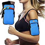 Innens Arm Bag, Universal Sports Armband Fitness Arm Bag with Earphone Hole for iPhone X 8 7 6 6S Plus, Galaxy S9 Plus S9 S8 S7 Edge S6 Edge - Running, Gym, Outdoor, Workout (A-Blue)