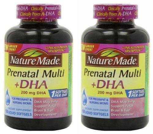 Nature Made Prenatal (Nature Made Prenatal Multi + Dha, 200mg 150 Softgels (Two Bottles each of 150 Softgels))
