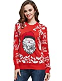 Image of Camii Mia Women's Crew Neck Christmas Pullover Sweater (X-Large, Red (910))