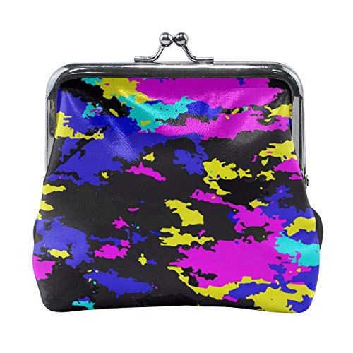 Poream Camouflage Neon Vector Image Personalized Retro Leather Cute Classic Floral Coin Purse Clutch Pouch Wallet For Girls And Womens
