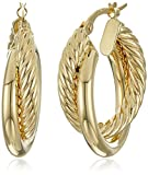 14k Yellow Gold Italian Polished and Rope Hoop Earrings