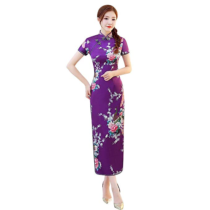Xinvivion Vestido Chino de Cheongsam para Mujeres - Vestido Chino de la Mujer de Manga Corta Collar de Alta Hendidura Impresión Qipao Fiesta de Bodas ...