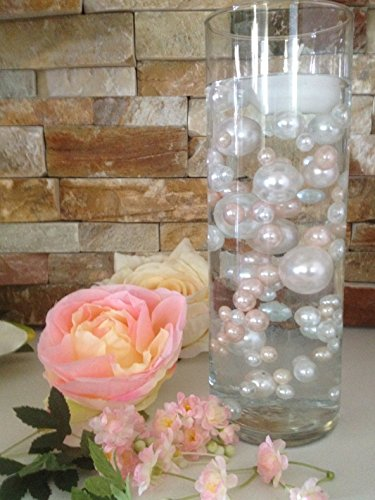 Vase Filler Pearls For Floating Pearl Centerpieces, 80 Blush Pink & White Pearls Jumbo & Mix Size No Hole Pearls, (Transparent Gel Beads Required To Create Floating Pearls Sold separately)
