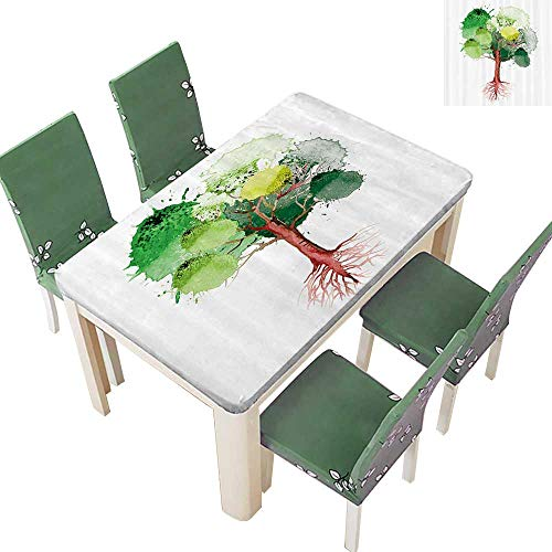 Printsonne Polyester Fabric Tablecloth Tree with Watercolor Circular Splashes Like Nature Drops Organic Life Symbol Summer & Outdoor Picnics 52 x 108 Inch