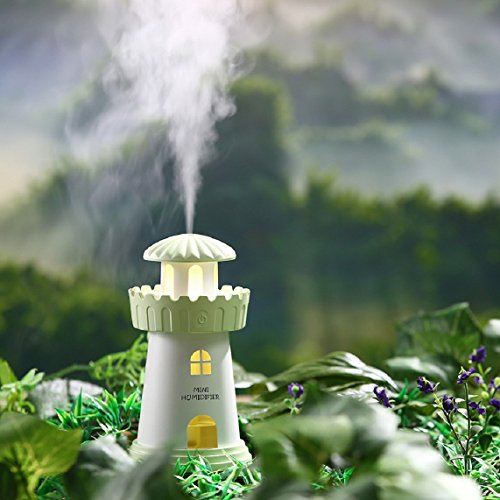 Gessppo Mini 150ML Green Lamp Shape House Humidifier USB Chargable Humidifier Lighthouse LED Humidifier