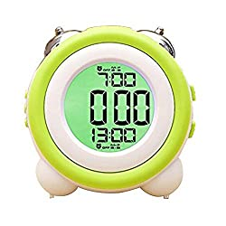 Zinnor Toddler Stay-In-Bed Light Clock, Simple LED Cute Mini Portable Alarm Clock - Teaches Child When Ok-to Wake Up + Kids Alarm (Green)