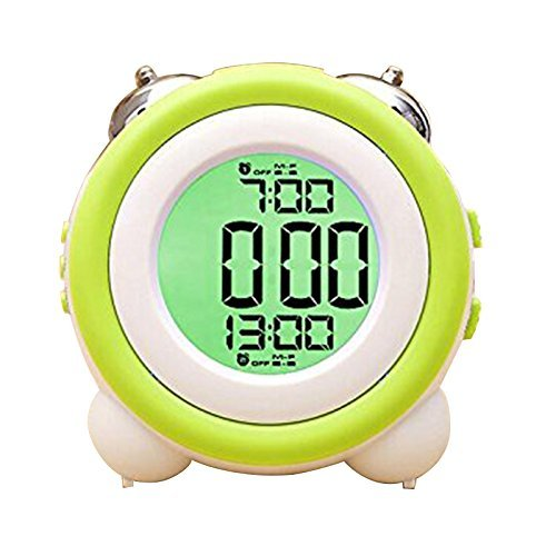 Zinnor Toddler Stay-In-Bed Light Clock, Simple LED Cute Mini Portable Alarm Clock - Teaches Child When Ok-to Wake Up + Kids Alarm (Green) (Kids Nap Time Alarm Clock)