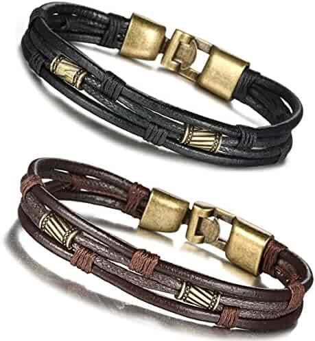 FIBO STEEL Leather Bracelet for Men Braided Wrist Cuff Vintage, 8.5inches