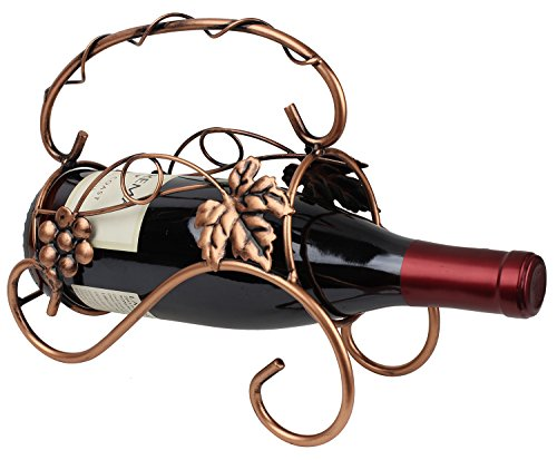 Tabletop Wine and Champagne Holder Bronze Metal Display with Grapevine Design by bogo Brands (Centerpiece Grapevine)